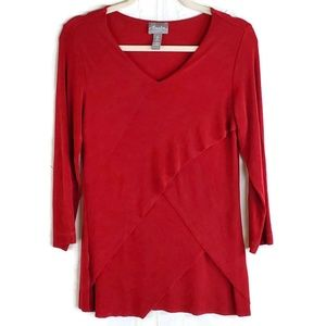 Chico's Travelers Solid Red Top Layered Look